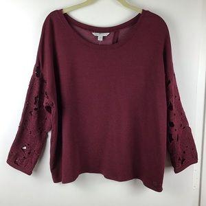 American Eagle | Open Back Lace Sleeve Sweatshirt